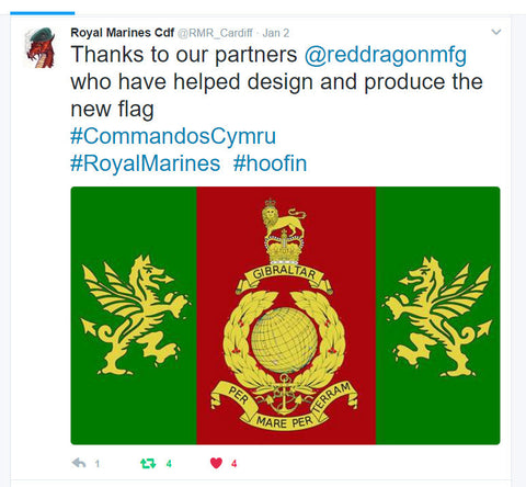Royal Marines Cardiff new flag designed and made by red dragon flagmakers
