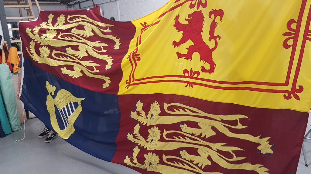 Royal Standard flag made for the set of Downton Abbey the movie by Red Dragon Flagmakers