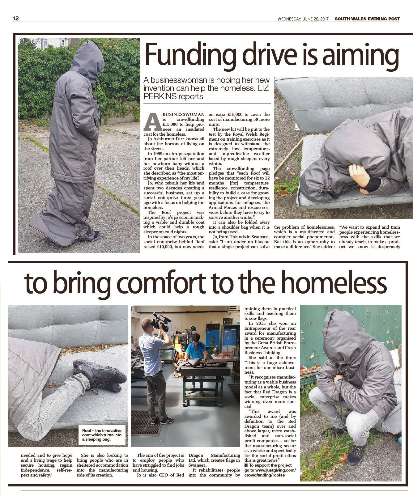 South Wales Evening Post ROOF coat bag saving lives on the streets