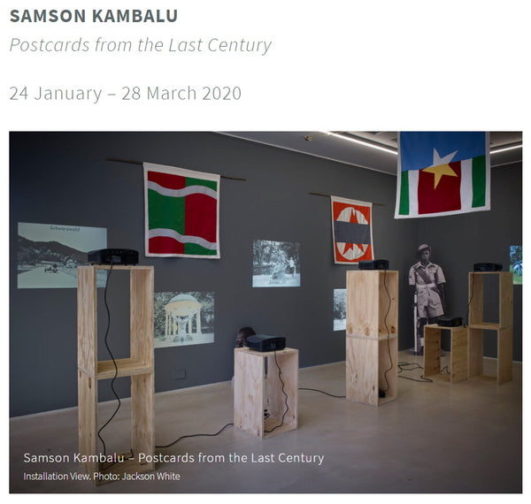 Samson Kambalu at PEER Gallery, Jan to March 2020 all flags and banners made by Red Dragon Flagmakers