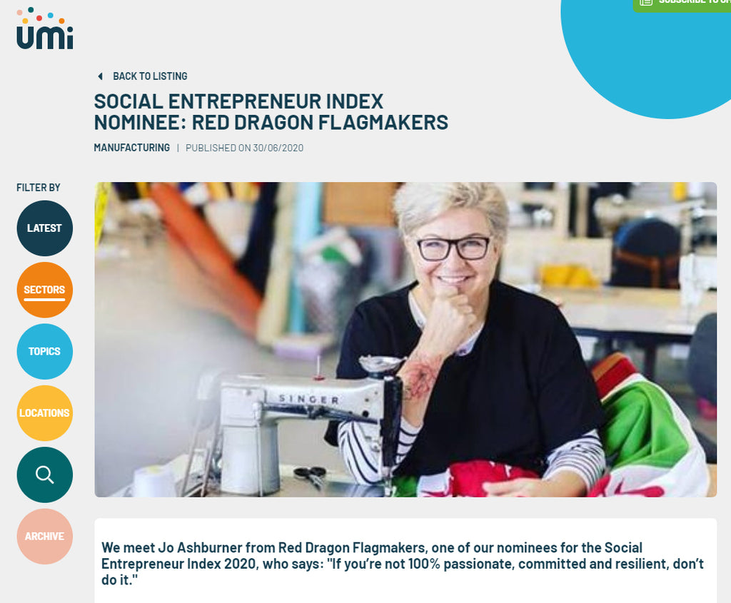 UMI social entrepreneur index 2020 Red Dragon Flagmakers Jo Ashburner