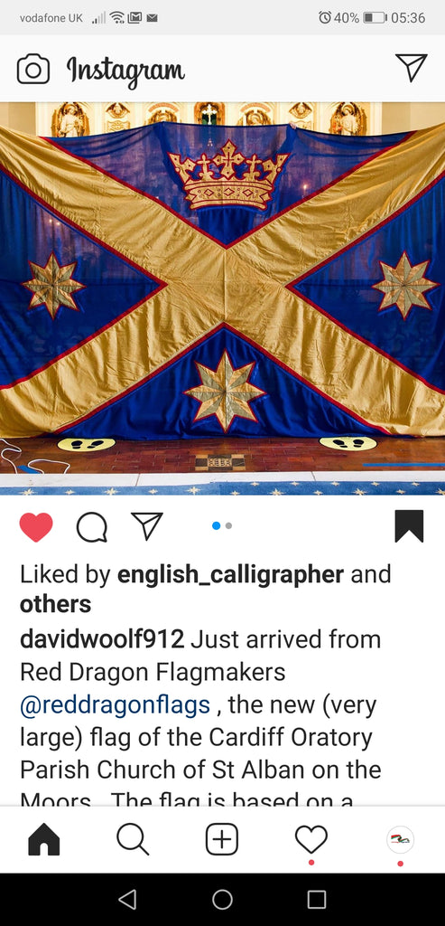 Stitched ecclesiastical flag by Red Dragon Flagmakers