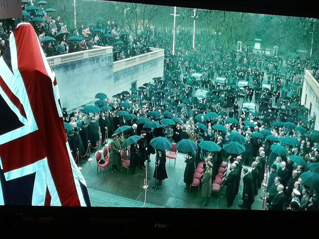 The Crown Tv series flags and coffin drapes by Red Dragon Flagmakers