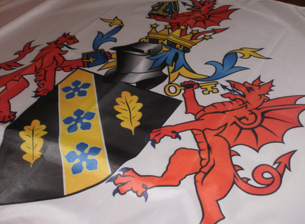University of Wales Trinity St David, quality printed flag, coat of arms with standard bearers, full colour