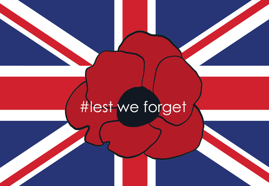 Lest we forget poppy and union flag for remembrance day by Red Dragon Flagmakers