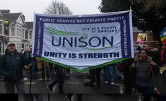Unison banner by Red Dragon Flagmakers anti racisism