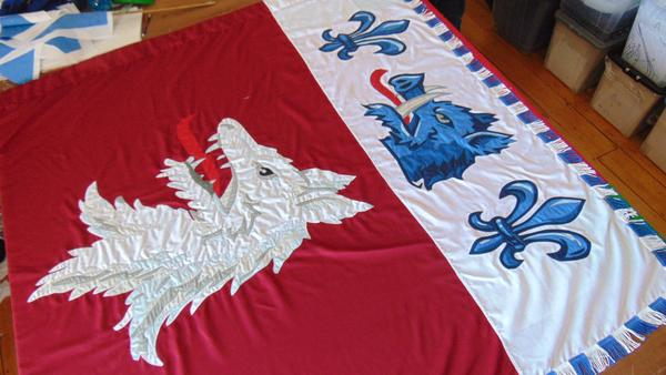 Woolf coat of arms, fully sewn cermeonial flag with bespoke blue and white fringe