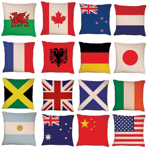 Flags of the world cushion covers by Red Dragon Flagmakers