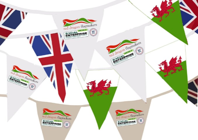 Brilliant bunting, custom bunting, bunting galore, made to order, custom bunting from red Dragon Flagmakers