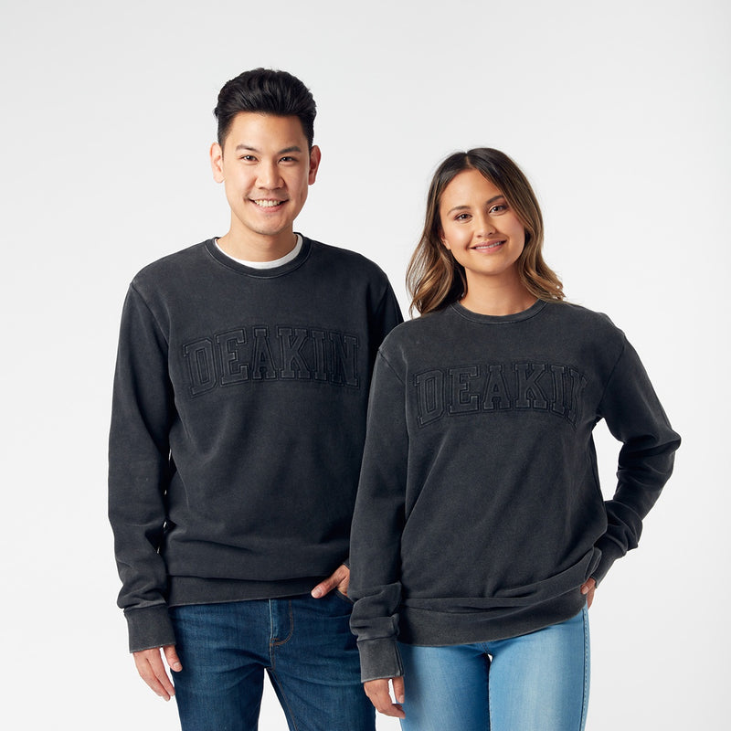 Embossed Unisex Crew Sweat- Acid Black