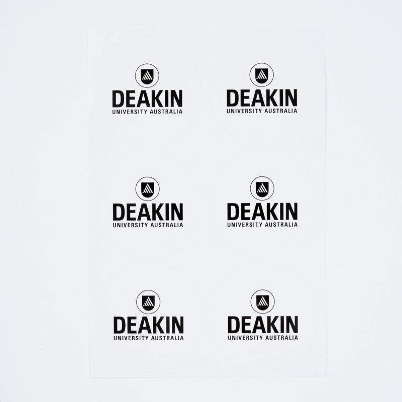 Deakin white round sticker
