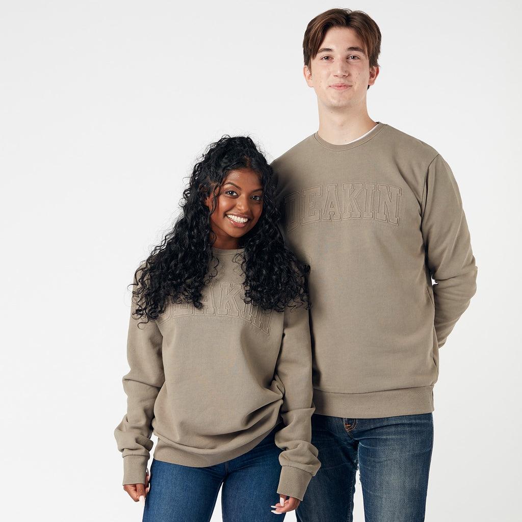 Embossed Unisex Crew Sweat - Khaki
