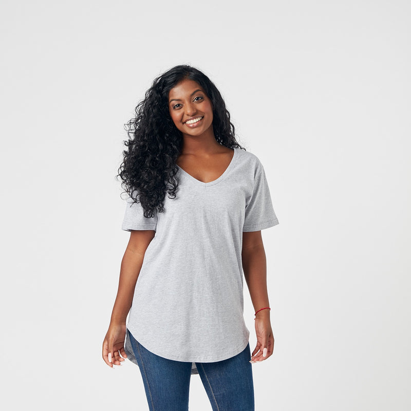 Ladies V Neck Back Print Tee - Grey Marle