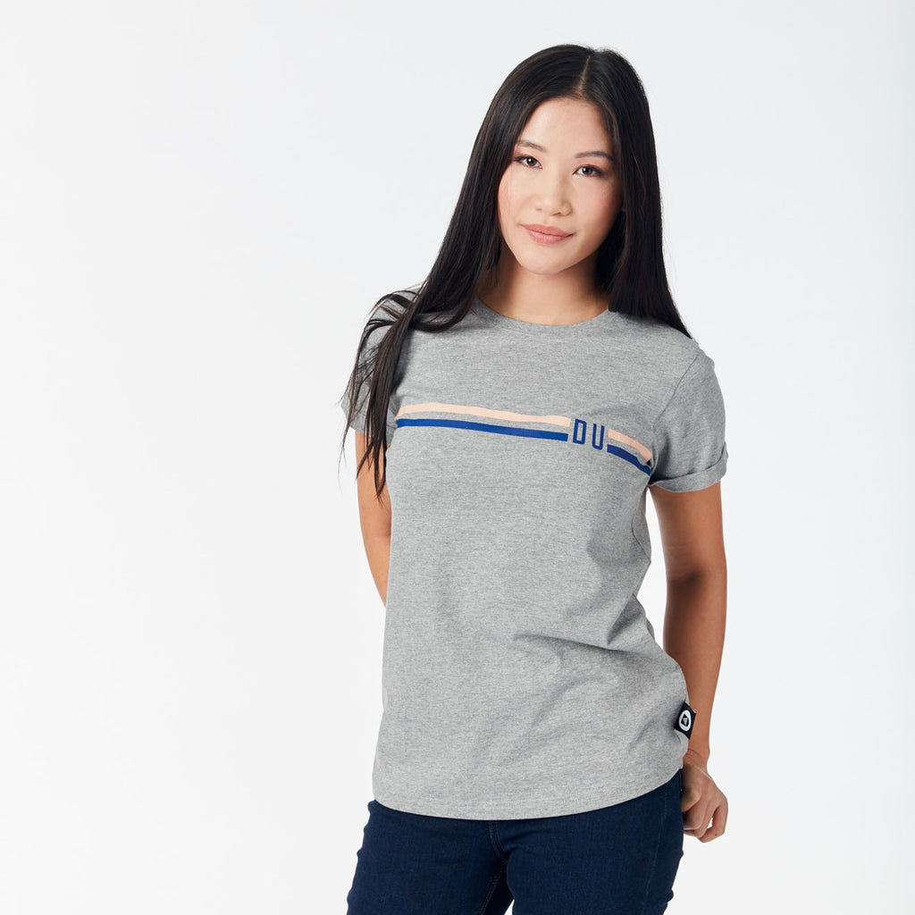 Ladies Tee - Deakin stripes/Grey