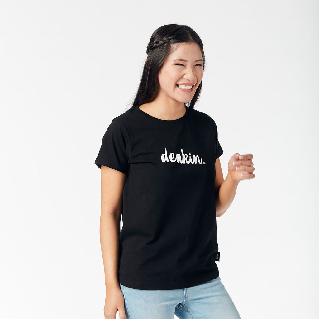 Ladies Tee - Deakin script/Black