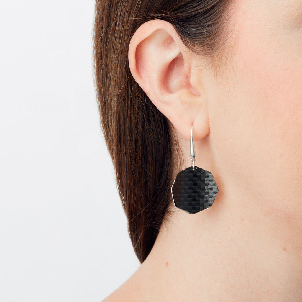 Carbon Fibre Earrings - Hexagon