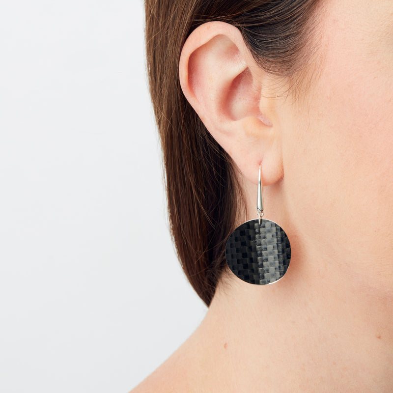 Carbon Fibre Earrings - Round