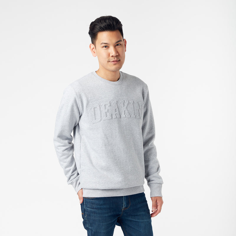 Embossed Unisex Crew Sweat  - Grey Marle