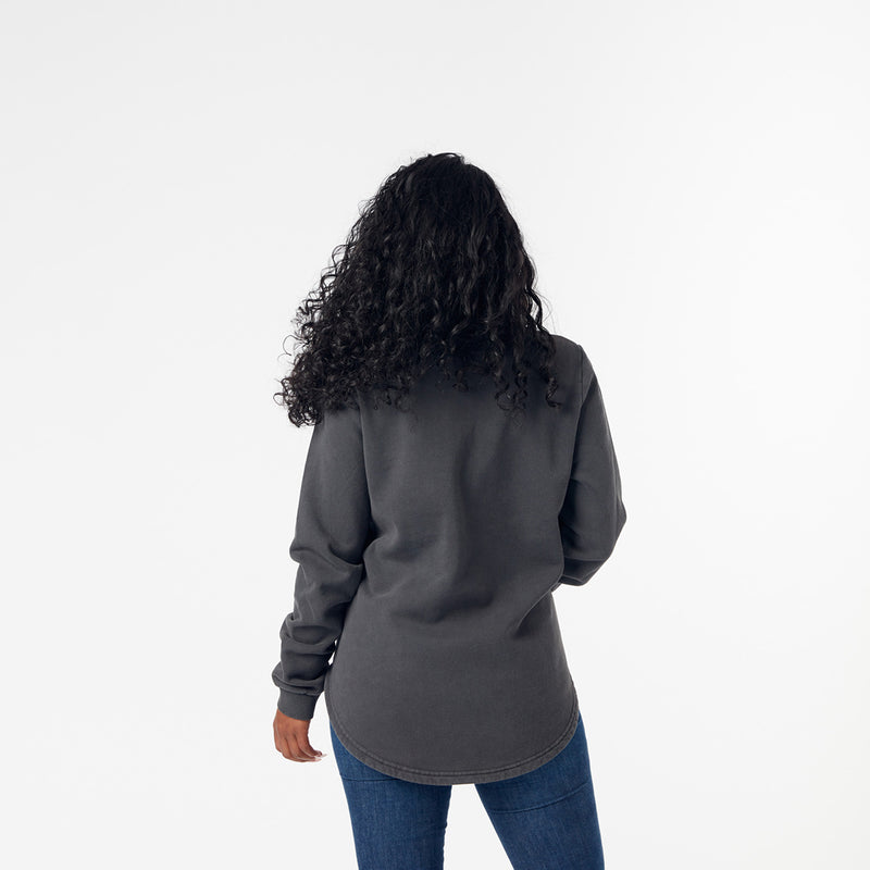 Ladies curved hem sweat- acid charcoal