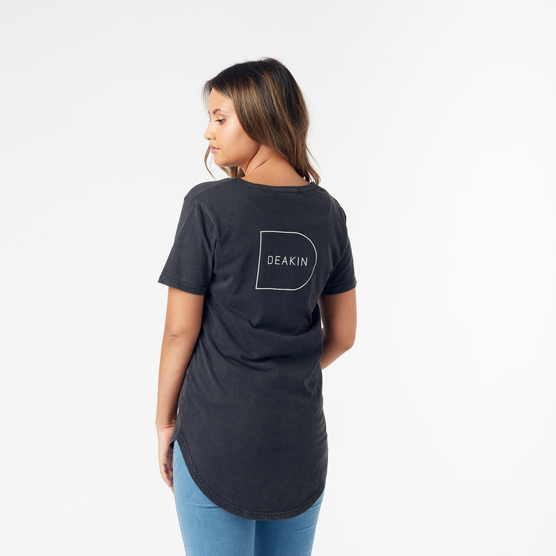 Ladies V Neck Tee - Acid Black
