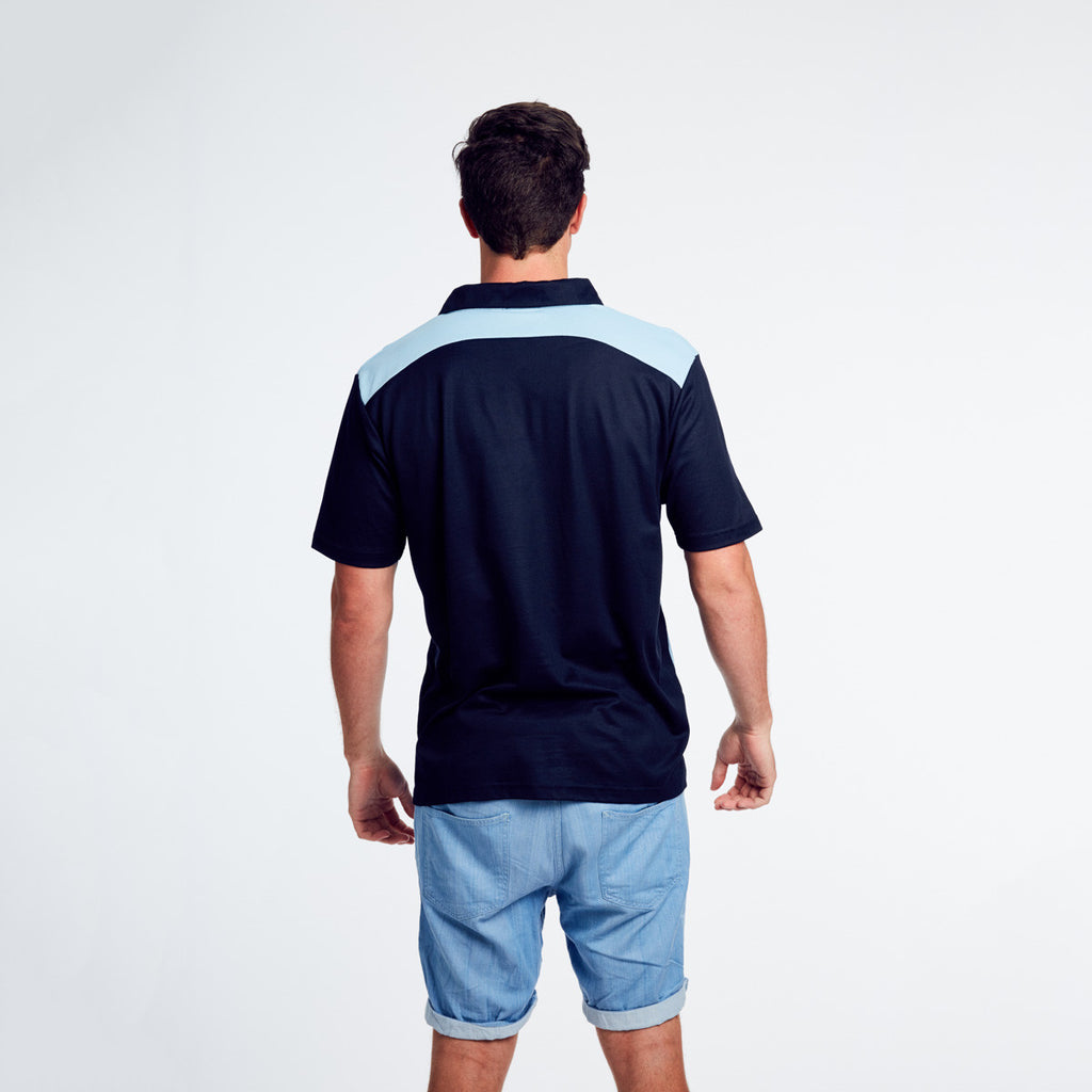 Polo Shirt in Navy and Sky - Mens