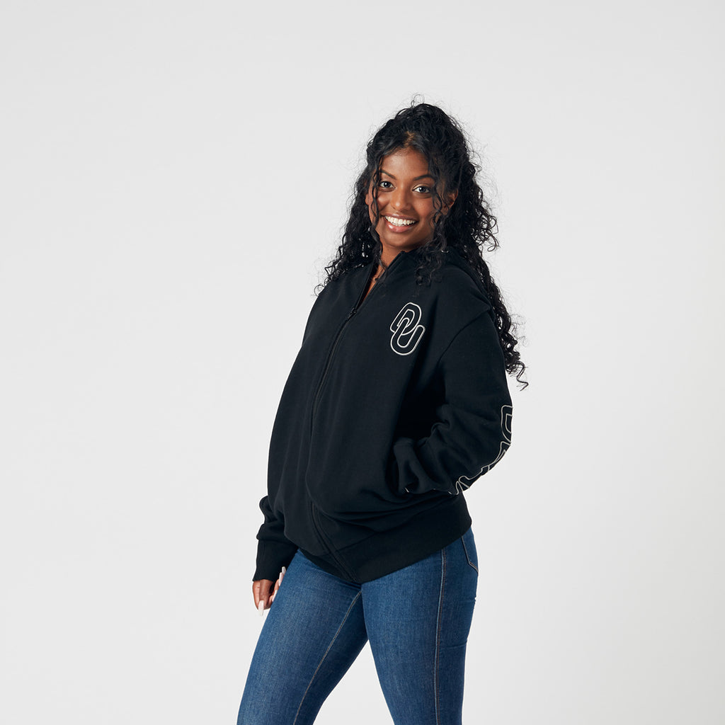 Unisex embroidered zip thru hoodie- Black