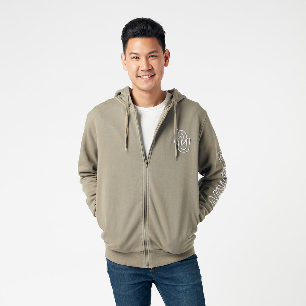 Unisex embroidered zip thru hoodie - Khaki