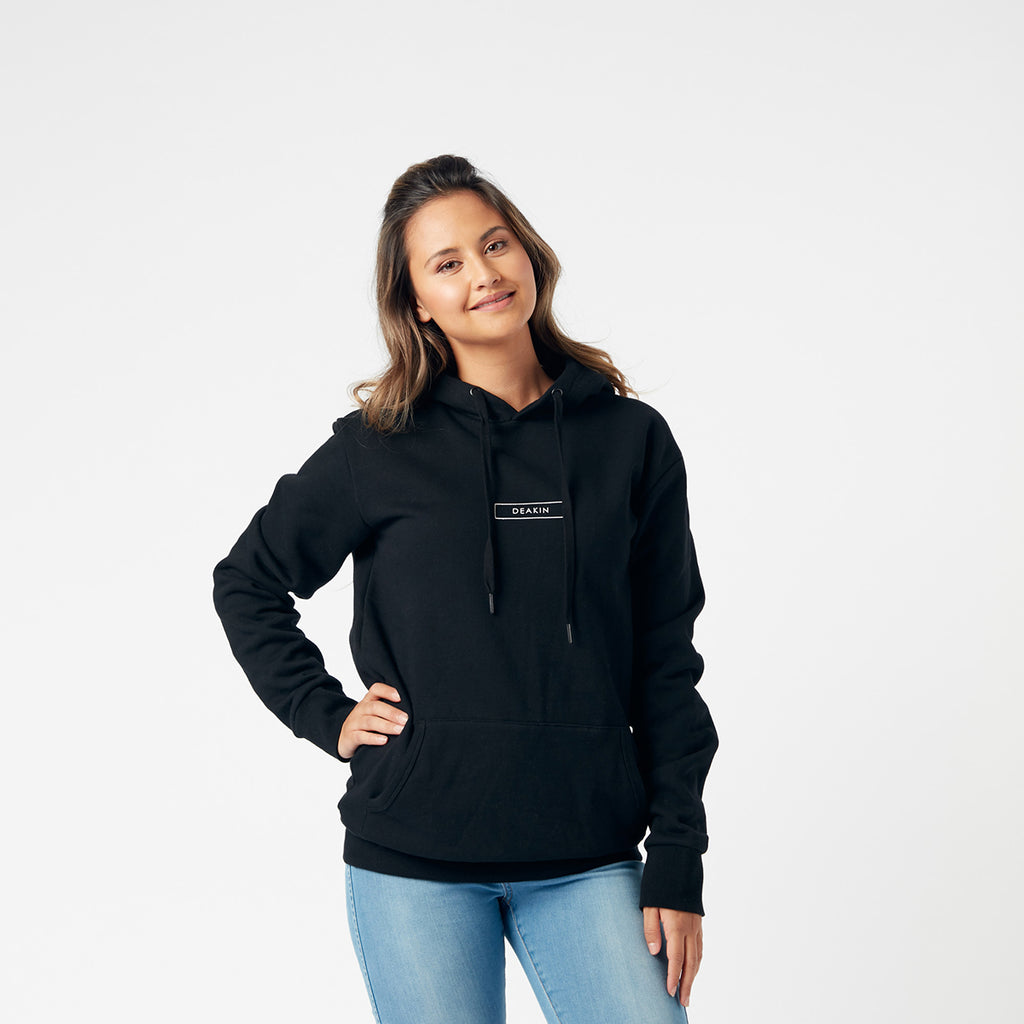 Back Stacked Logo Unisex Hoodie - Black