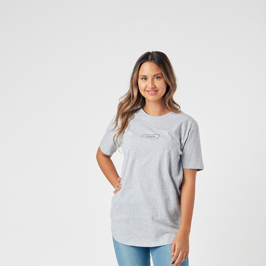 Unisex Stacked Logo Tee - Grey Marle