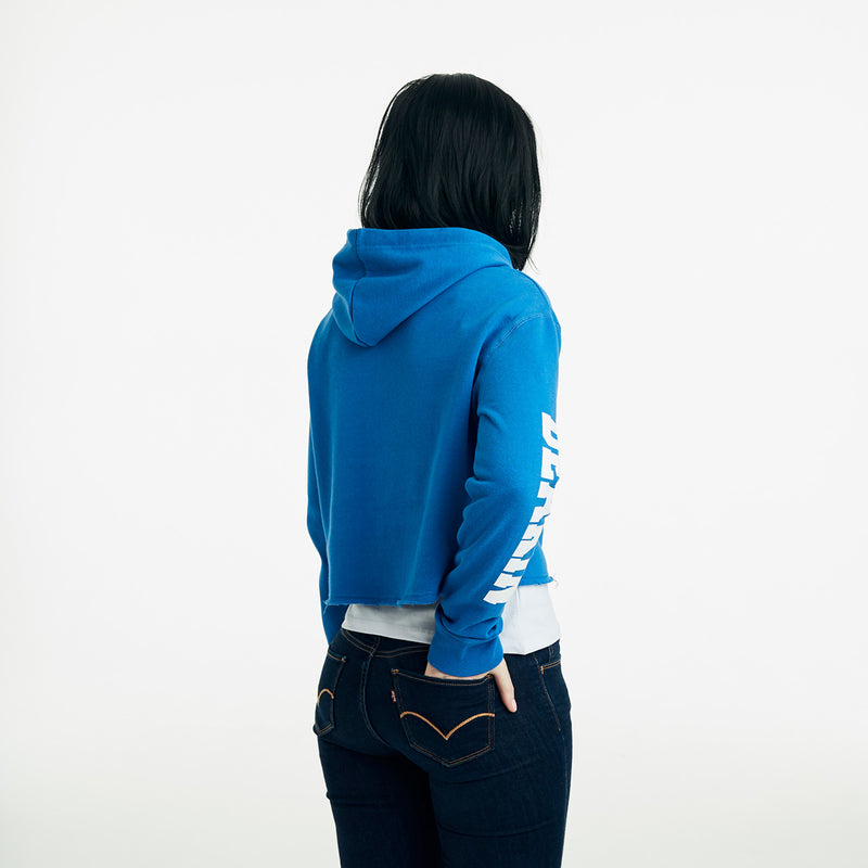 Heritage Cropped Hoodie-Blue Delight