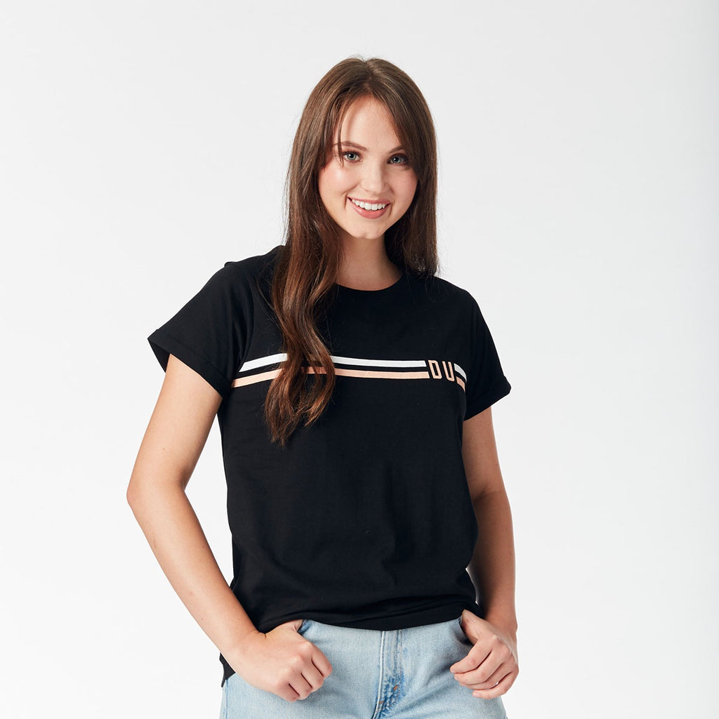 Ladies Tee - Deakin stripes/Black
