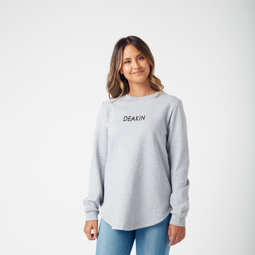 Ladies curved hem sweat- grey marle