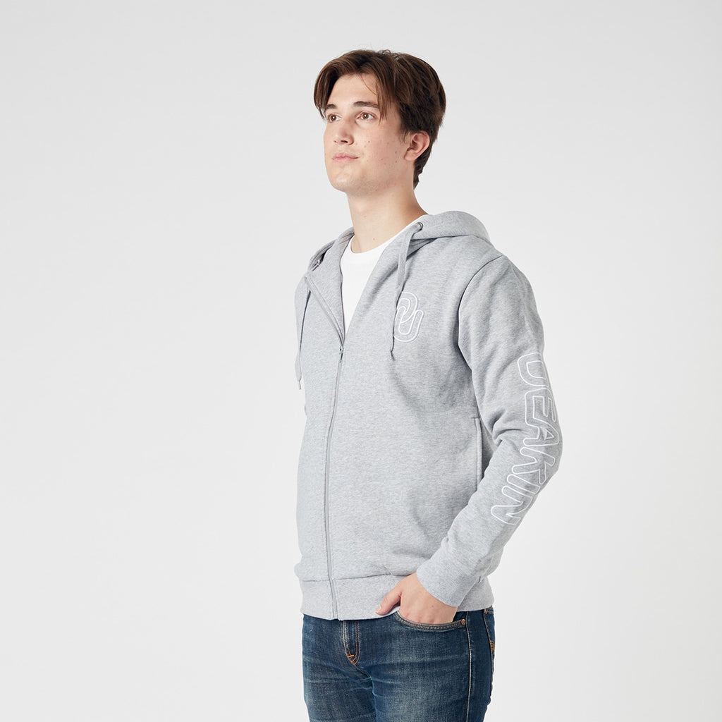 Unisex embroidered zip thru hoodie- Grey marle