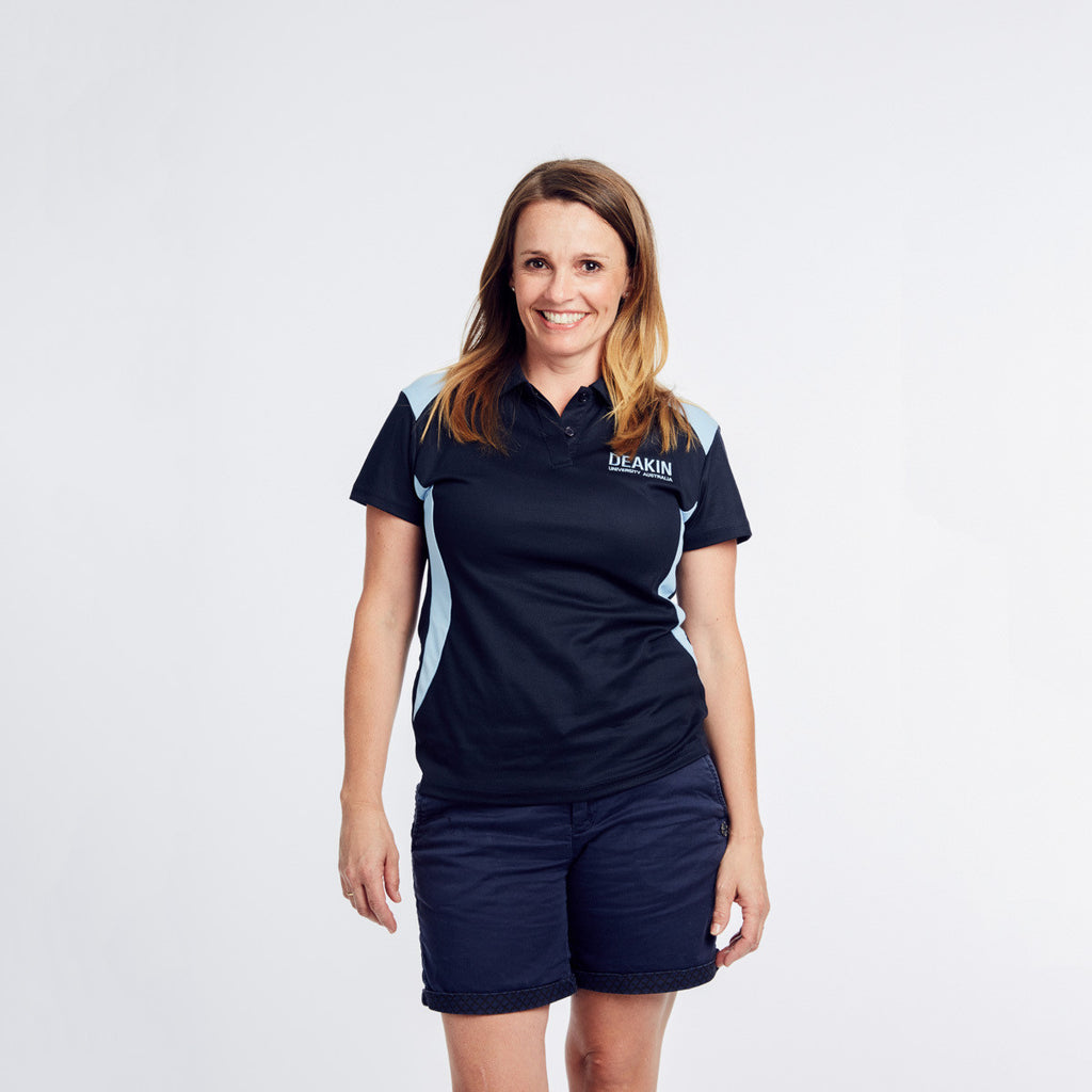 Polo Shirt in Navy and Sky - Ladies