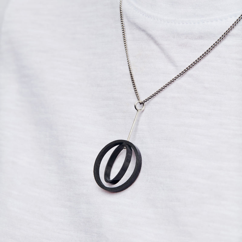Carbon Fibre Pendants - Interlocking Circles