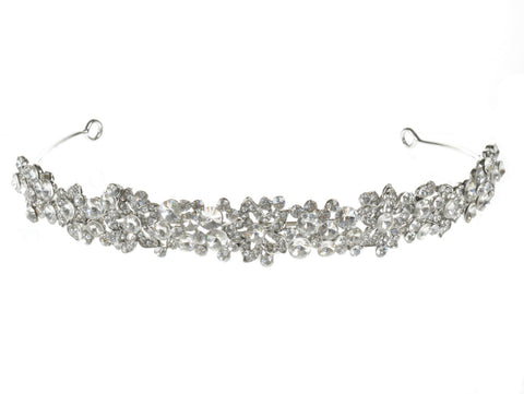 SC Rhinestone Crystal Rhodium Prom Bridal Wedding Tiara Crown Headband 102386
