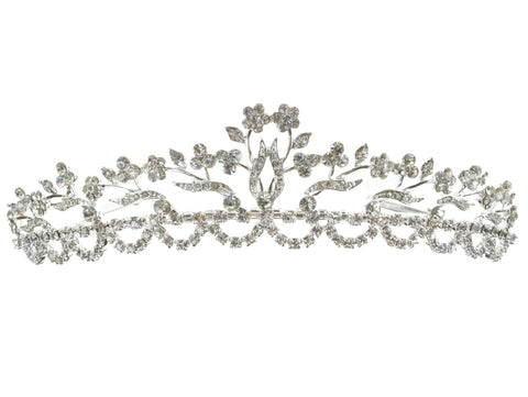SC Rhinestone Crystal Prom Bridal Wedding Tiara Crown With Flowers 11767