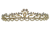 SC Rhinestone Crystal Gold Prom Bridal Wedding Tiara Crown With Flowers 1176G7
