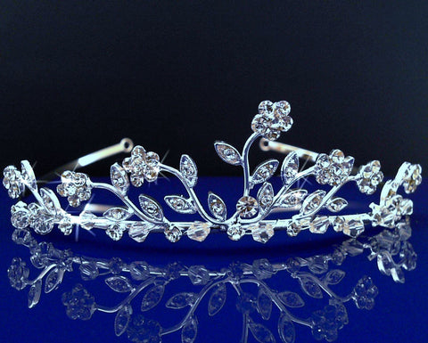 SC Bridal Wedding Prom Tiara Crown With Crystal Flowers 1598