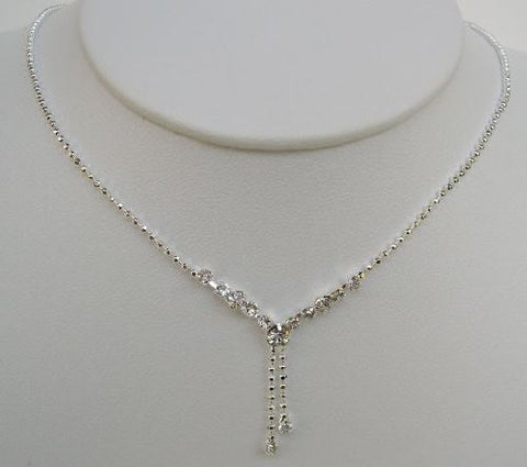 "Bridal Wedding Prom Pageant Crystal Necklace and Earring Set, 18"" with Adjustable Chain N1B15"