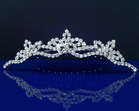 Bridal Wedding Tiara Comb With Three-Crystal Center 42775
