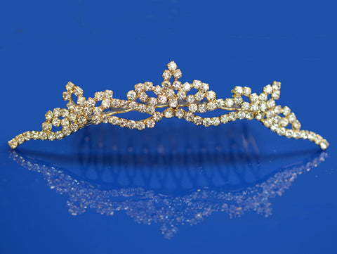 Bridal Wedding Gold Tiara Comb With Three-Crystal Center 4277G