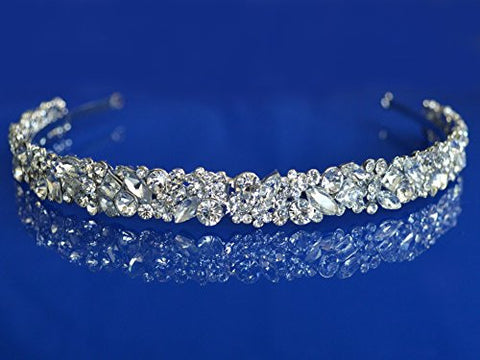 SC Rhinestone Crystal Rhodium Prom Bridal Wedding Tiara Crown Headband 100626
