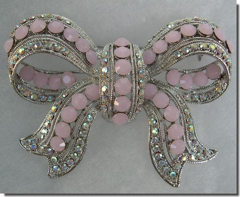 Light Pink and White Crystals Bow Pin B1T23