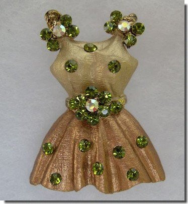 Gold and Green Crystal Dress Pin B3H52