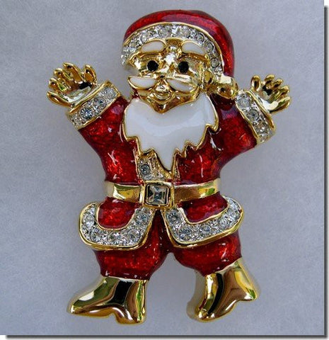 Jewelled Happy Santa Pin B3K62