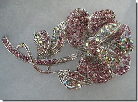 Pink and White Crystals Flower Pin B1S63