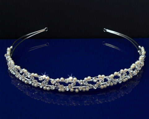 SC Bridal Wedding Tiara Headband With Pearls and Crystals 55916