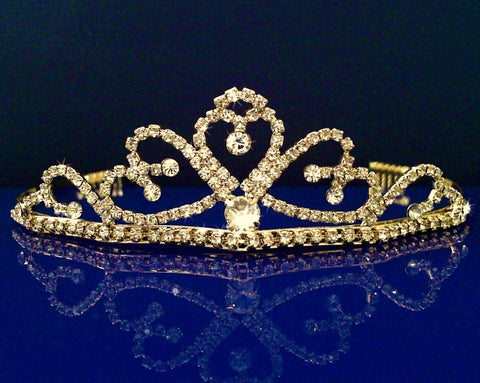 SC Gold Bridal Wedding Tiara With Heart and Round Crystal Drop 60695