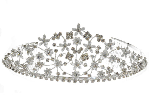 SC Rhinestone Crystal Prom Bridal Wedding Silver Tiara Crown With Flowers 60846